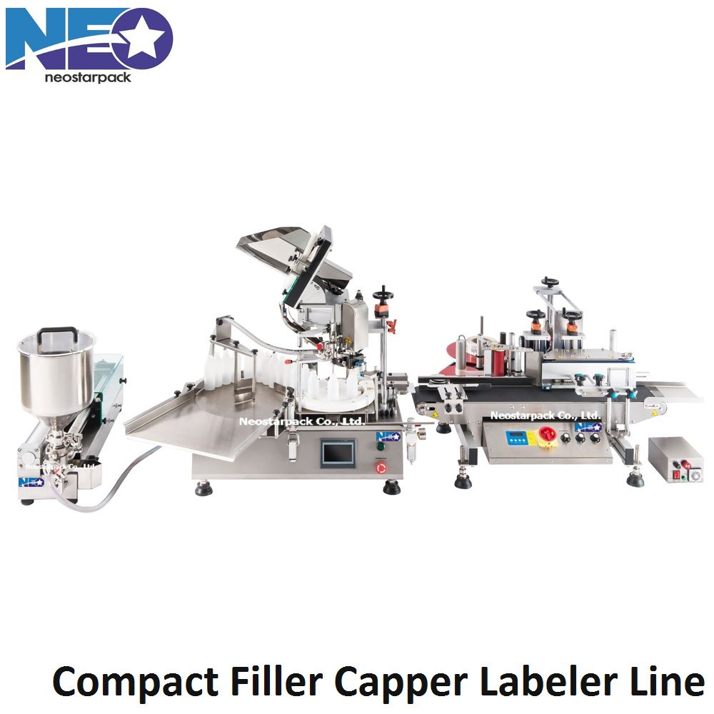 Compact filling capping labeling production line
